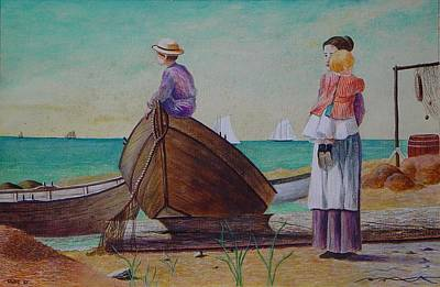 Painting - Waiting For Dad Winslow Homer by Ron Sylvia
