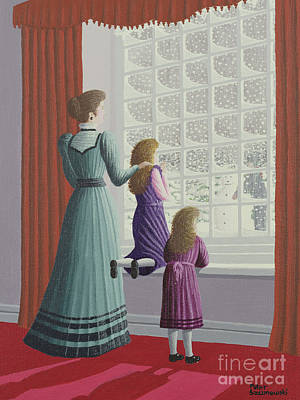 Red Drape Painting - Waiting For Father by Peter Szumowski