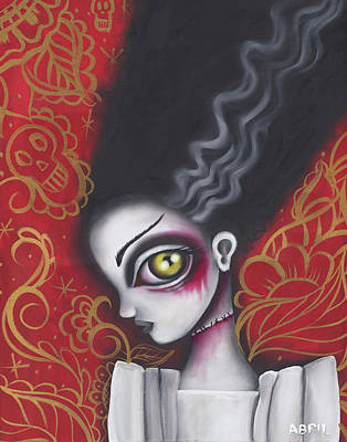 Bride Of Frankenstein Painting - Waiting For  Frankenstein  by Abril Andrade Griffith
