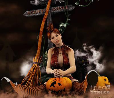 Digital Art - Waiting For Halloween by Jutta Maria Pusl