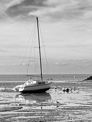 Photograph - Waiting For High Tide Black And White by Gill Billington