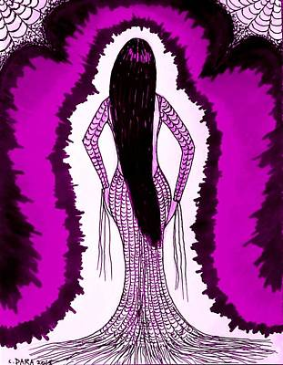 Spider Woman Drawing - Waiting For Him In Purple by Dara