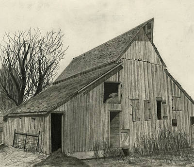 Old Farm Drawing - Waiting For Life by Bryan Baumeister