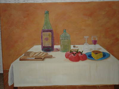 Bread And Cheese Painting - Waiting For One by Terrence ORourke