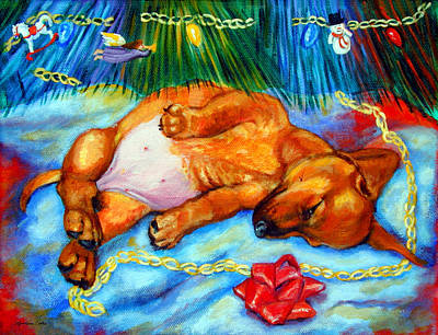 Dachshund Puppy Painting - Waiting For Santa  - Dachshund by Lyn Cook