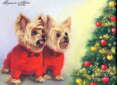 Waiting For Santa Dog Art Print by Roseanne Marie Peters