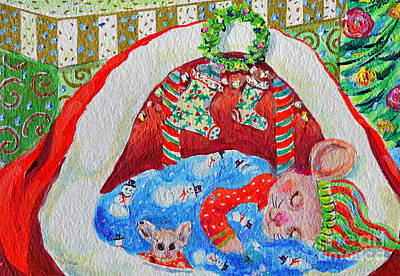 Painting - Waiting For Santa by Li Newton