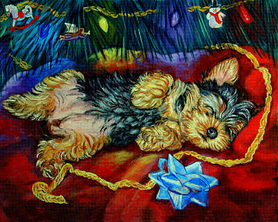 Yorkshire Terrier Wall Art - Painting - Waiting For Santa Yorkshire Terrier by Lyn Cook