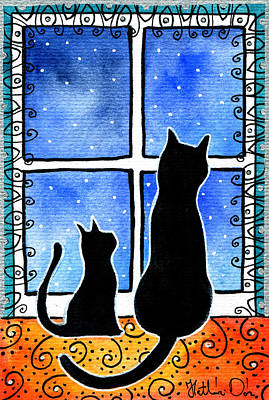 Painting - Waiting For Spring - Black Cat Card by Dora Hathazi Mendes