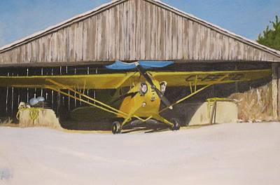 Piper Cub Painting - Waiting For Spring by Chad Atkins
