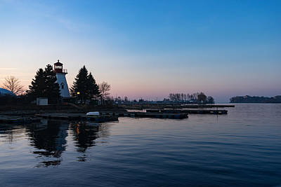 Photograph - Waiting For Sunrise - Blue Hour At The Lighthouse Infused With Soft Pink by Georgia Mizuleva