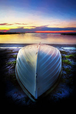 Photograph - Waiting For Sunrise On The Lake Watercolors by Debra and Dave Vanderlaan