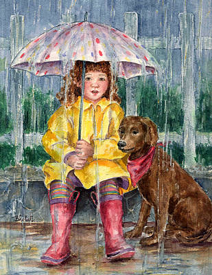 Raincoats Painting - Waiting For Sunshine by Barbel Amos