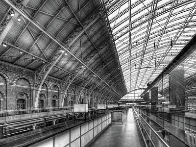 Photograph - Waiting For The Bar To Open - St Pancras Station Mono by Gill Billington