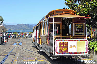 Photograph - Waiting For The Cablecar At Fishermans Wharf San Francisco California 7d14099 by San Francisco Art and Photography