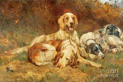 Cats And Dogs Painting - Waiting For The Guns  by Thomas Blinks