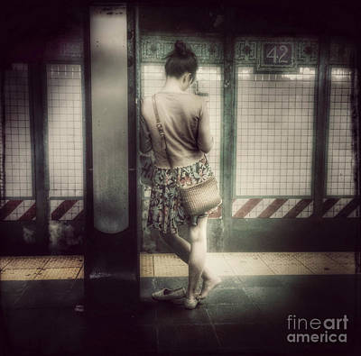Photograph - Waiting For The Q - 42nd Street Subway Station New York by Miriam Danar