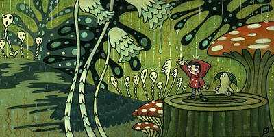Art Print featuring the painting Waiting For The Rain by Kaori Hamura Long
