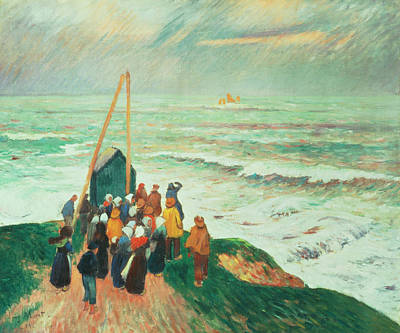Waiting For The Return Of The Fishermen In Brittany Art Print by Henry Moret