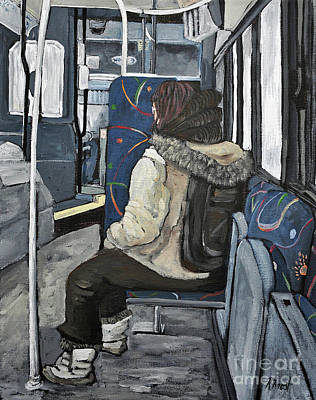 Montreal Winter Scenes Painting - Waiting For The Stop by Reb Frost