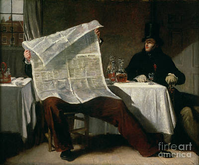 Newspaper Painting - Waiting For The Times by Benjamin Robert Haydon