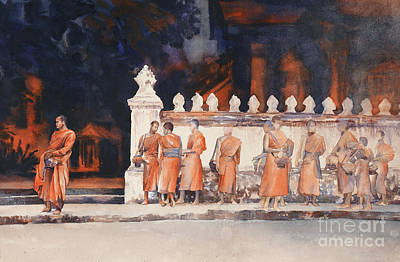 Painting - Waiting For The Walk- Morning Alms by Ryan Fox