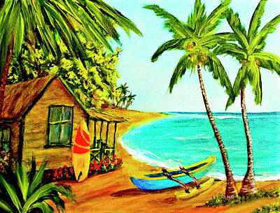 Waiting For The Waves Hawaii #387  Art Print by Donald k Hall