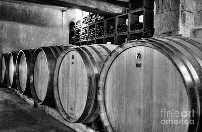 Wine Barrel Photograph - Waiting For Wine 2 Bw by Mel Steinhauer