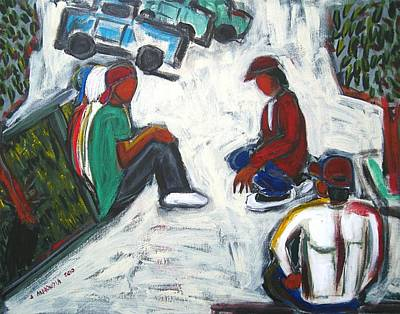 Labor Day Mixed Media - Waiting For Work by Albert  Almondia