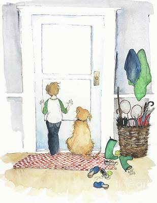 Dog At Door Painting - Waiting For You by Anne Lee