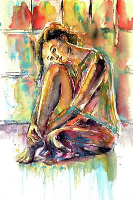 Waiting Girl Painting - Waiting For You by Kovacs Anna Brigitta