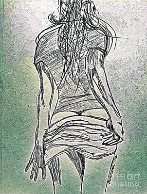 Drawing - Waiting For You - Lustful Abstract by Scott D Van Osdol