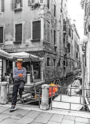 Photograph - Waiting Gondolier In Venice by Carolyn Derstine