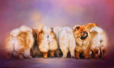 Chow Chow Painting - Waiting In Line by Jai Johnson