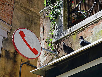 Travel - Waiting In Line To Use The Telephone In Venice, italy  by Rick Rosenshein