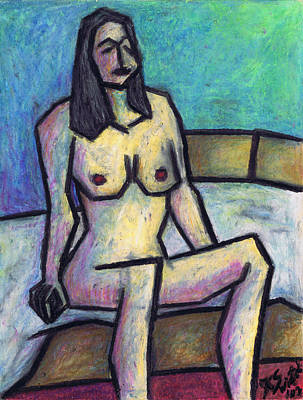 Oil Pastel On Paper Painting - Waiting In The Nude by Kamil Swiatek