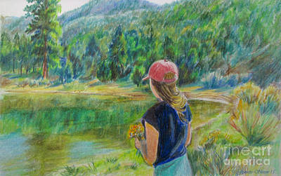 Water Activity Drawing - Waiting  by Jeanette Skeem