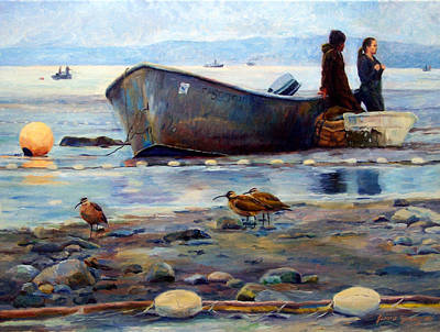 Fishing Bouys Painting - Waiting by Jeanne Young
