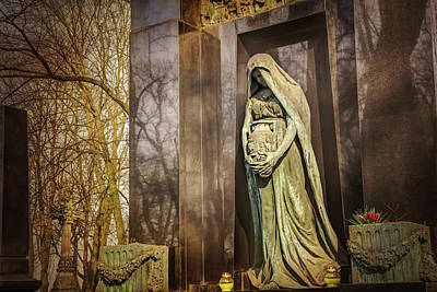 Photograph - Waiting Lady  Powazki Cemetery Warsaw  by Carol Japp