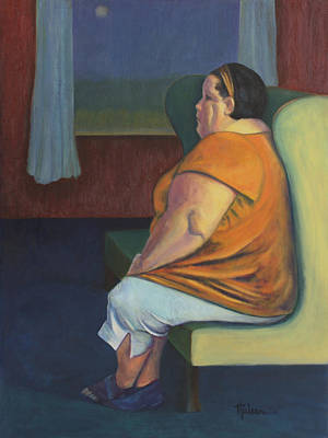 Heavy Woman Painting - Waiting by Leslie Rock