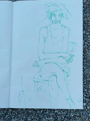 Drawing - Waiting On A Chair by Elizabeth Parashis