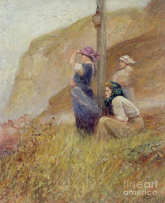 Sailors Girl Painting - Waiting On The Cliffs by Robert Jobling