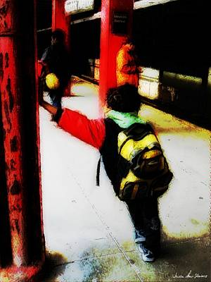 Waiting On The Q Train In Flatbush Art Print