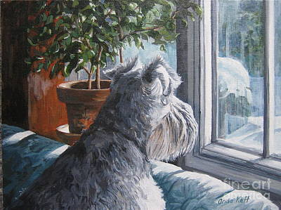 Schnauzer Painting - Waiting Patiently by Anda Kett