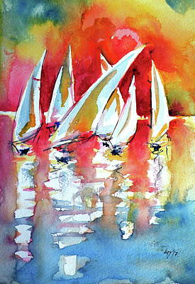 Painting - Waiting Sailboats by Kovacs Anna Brigitta