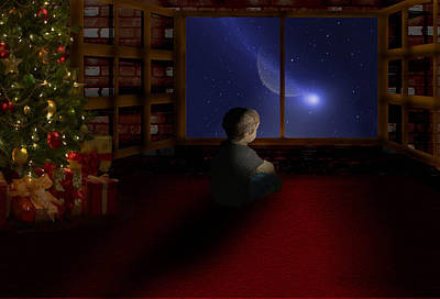 Waiting Santa Art Print