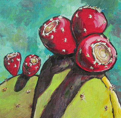 Prickly Pear Painting - Waiting To Be Picked by Sandy Tracey