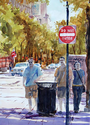 Waiting To Cross Art Print by Ron Stephens