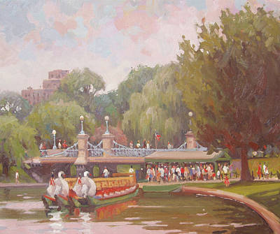 City Scape Painting - Waiting To Ride The Swans by Dianne Panarelli Miller