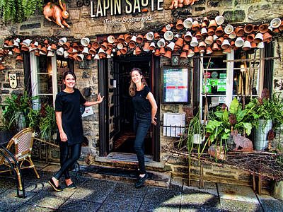 Photograph - Waitresses At Outdoor French Terroir In Old Quebec City by David Smith
